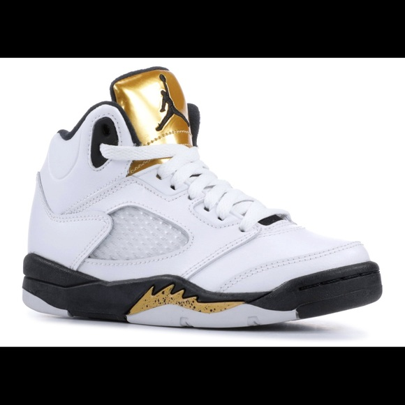 buy online 34196 93dad Jordan | Retro 5 White & Gold Sneaker - Size 13.5C